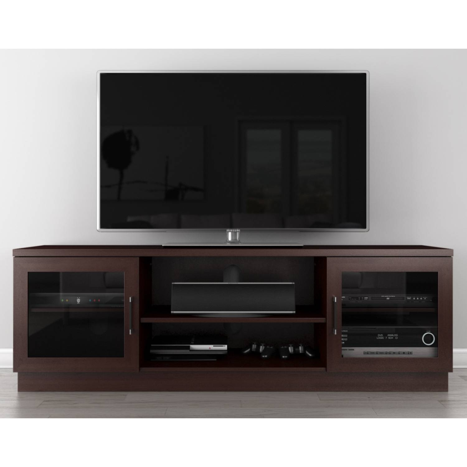 "Furnitech Ft70Ccw 70"" Tv Stand Contemporary Media Cabinet W throughout Wenge Tv Cabinets (Image 4 of 15)"