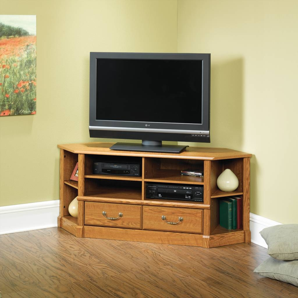 Furniture: Awesome Black Sauder Tv Stand Made Of Wood With Silver Pertaining To Silver Corner Tv Stands (View 1 of 15)