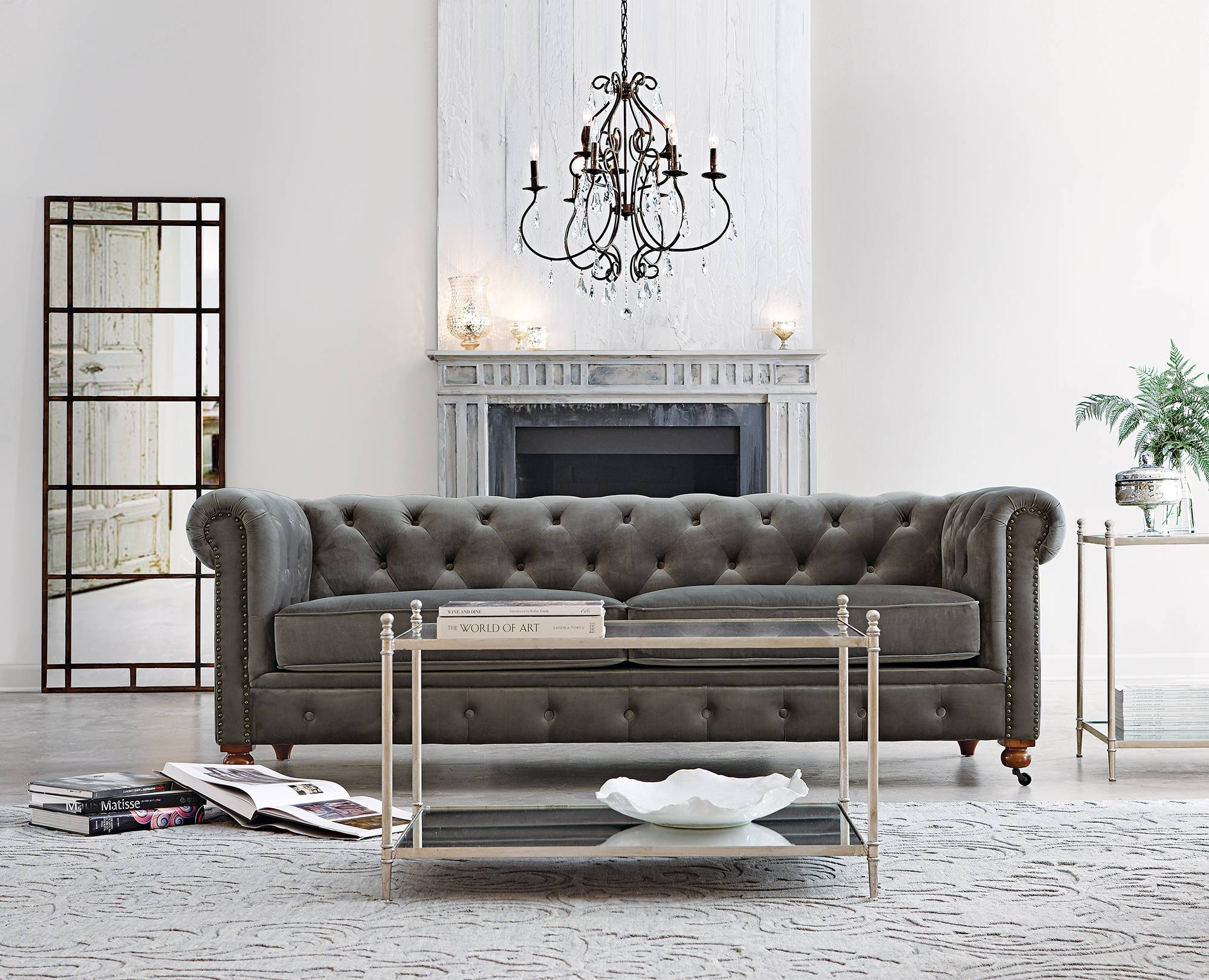 Furniture: Best Quality Grey Velvet Sofa For Your Living Room inside Blue Velvet Tufted Sofas (Image 7 of 15)