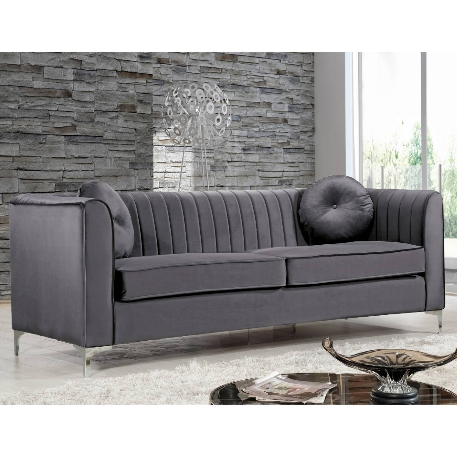 Furniture: Best Quality Grey Velvet Sofa For Your Living Room intended for Sofas With Chrome Legs (Image 9 of 15)