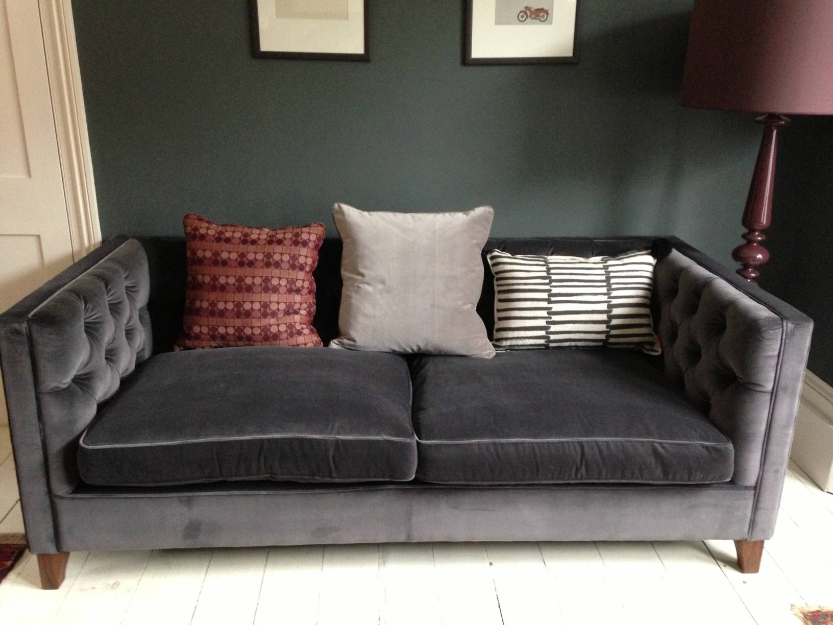 Furniture: Best Quality Grey Velvet Sofa For Your Living Room throughout Barrister Velvet Sofas (Image 13 of 15)