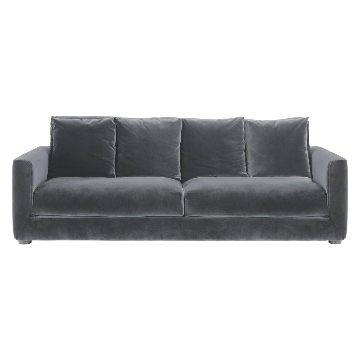 Furniture: Best Quality Grey Velvet Sofa For Your Living Room within Small Grey Sofas (Image 5 of 15)