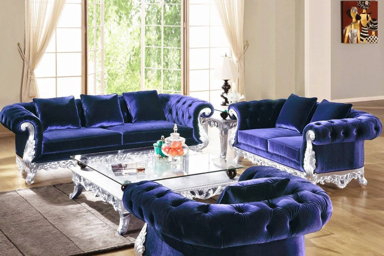 Furniture: Blue Velvet Tufted Couches For Luxury Living Room Decor with regard to Blue Velvet Tufted Sofas (Image 9 of 15)