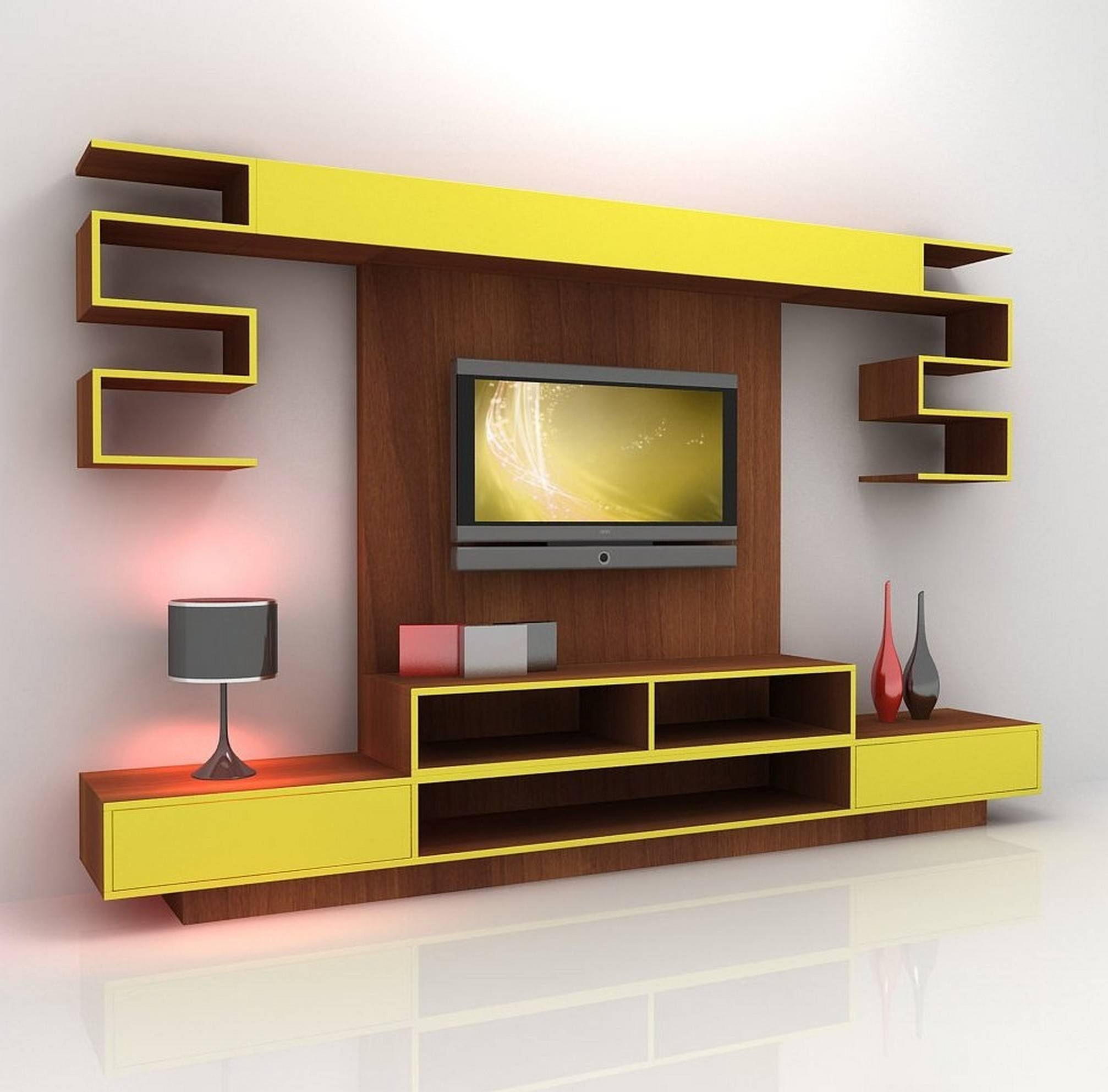 Furniture: Brown And Yellow Stained Particle Board Integrated Tv Pertaining To Red Tv Cabinets (View 13 of 15)