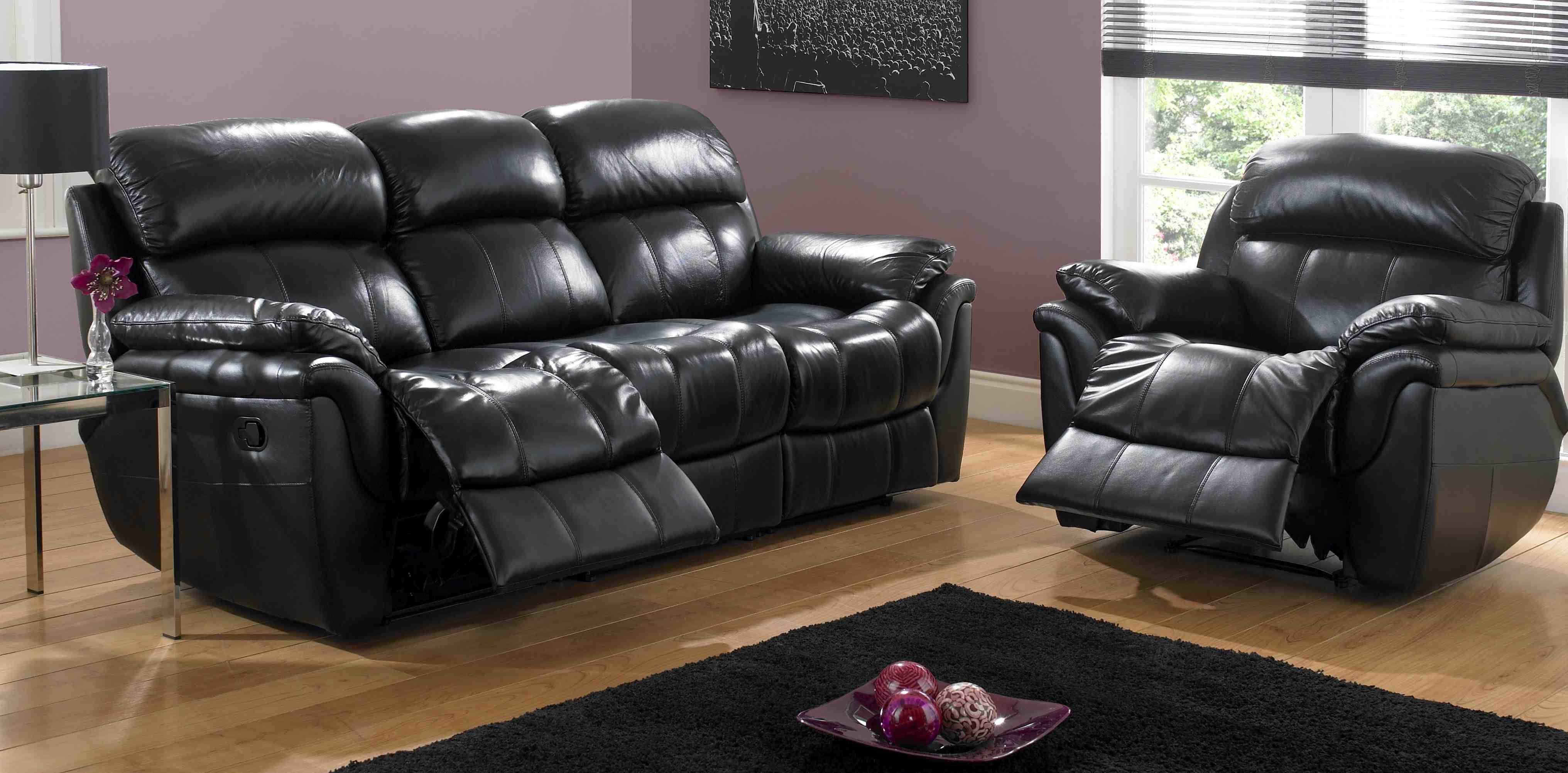 Furniture: Build Your Dream Living Room With Cool Leather Throughout Black Leather Sofas And Loveseats (Photo 7 of 15)