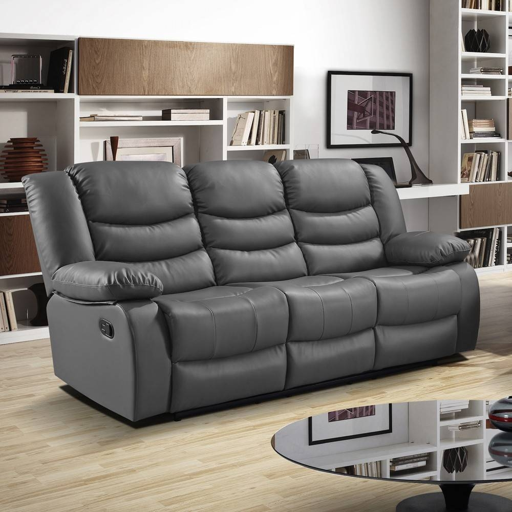 Furniture: Build Your Dream Living Room With Cool Leather within Charcoal Grey Leather Sofas (Image 7 of 15)
