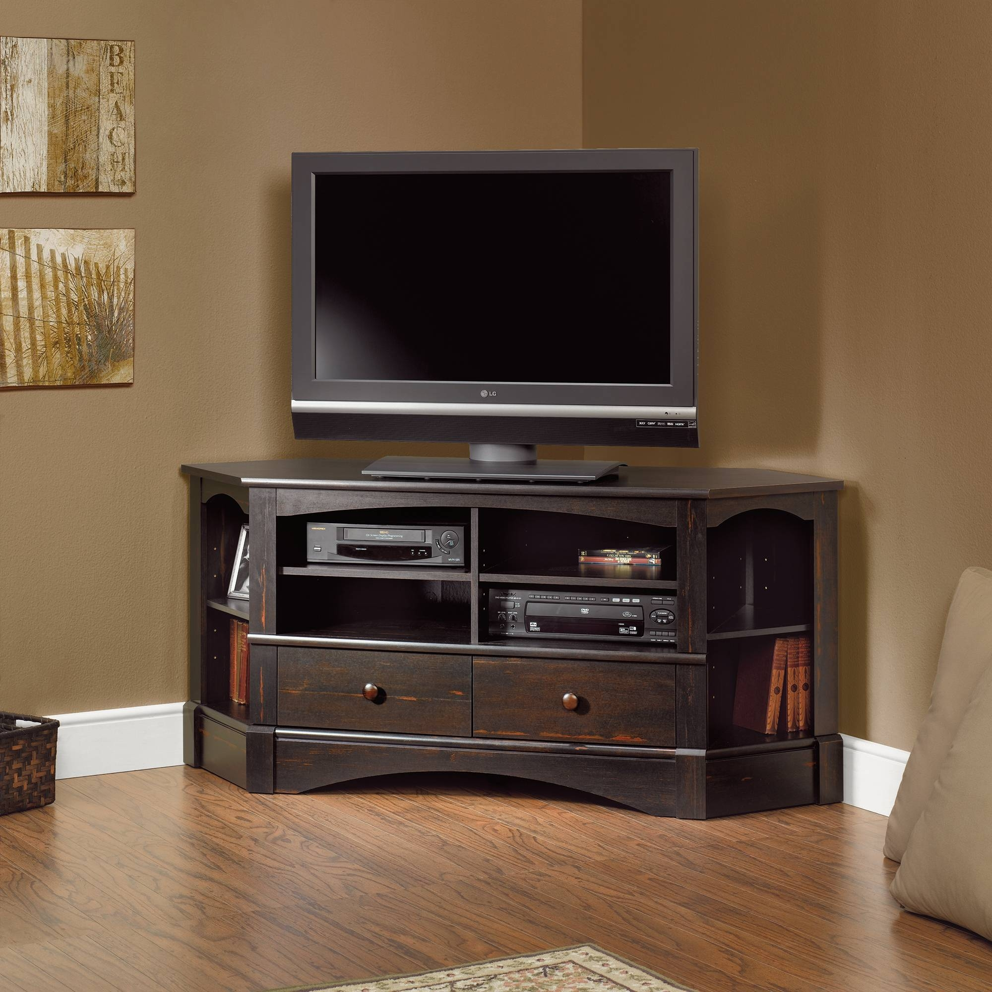 Furniture: Charming Brown Wooden Sauder Tv Stand With Silver Intended For Silver Corner Tv Stands (View 2 of 15)