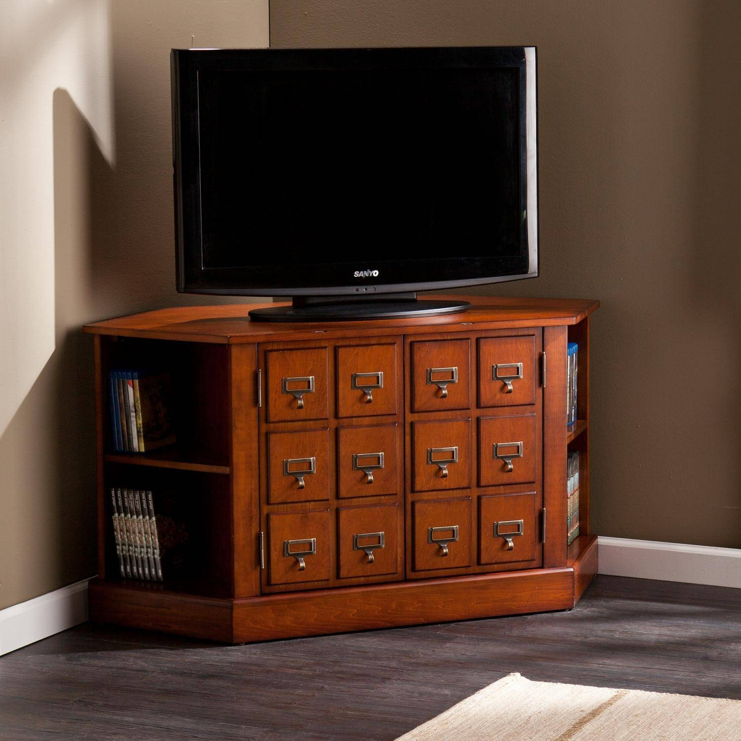 Furniture: Corner Cabinet Tv Stand Hutch | Apothecary Tv Stand with regard to Mahogany Corner Tv Cabinets (Image 9 of 15)