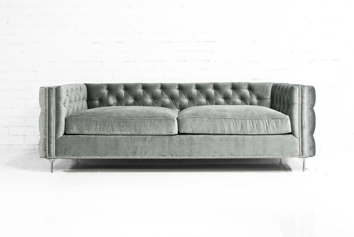 Furniture: Couches Amazon | Grey Velvet Sofa | Armen Living within Barrister Velvet Sofas (Image 15 of 15)