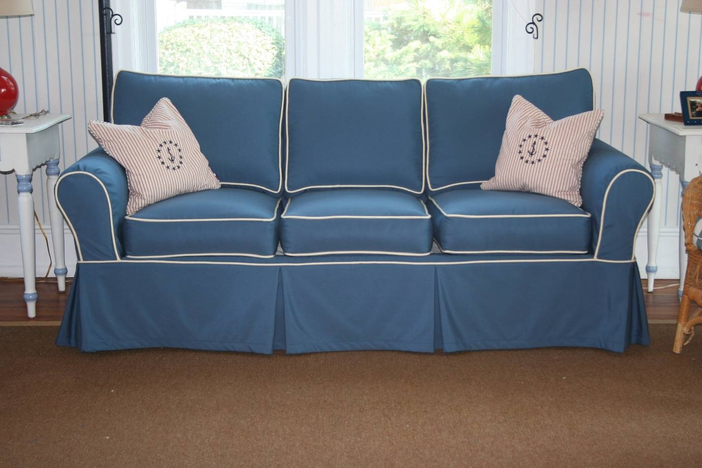 Furniture: Creates Clean Foundation That Complements Decorating with Blue Slipcovers (Image 6 of 15)