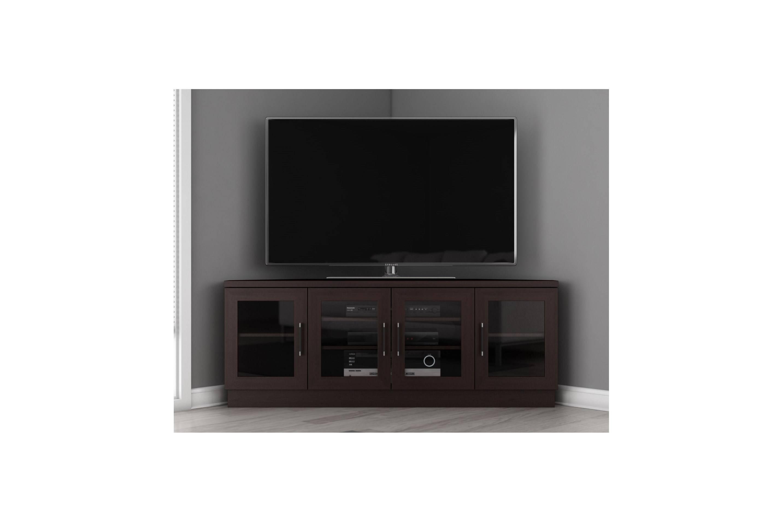 Furniture. Dark Brown Wooden Corner Tv Stand With Storage And inside Dark Brown Corner Tv Stands (Image 5 of 15)