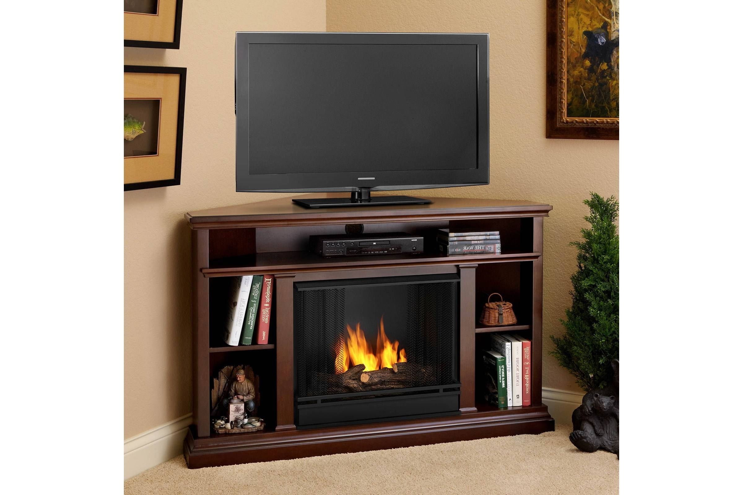 Furniture. Dark Painted Pine Wood Corner Media Stand With Electric within Dark Brown Corner Tv Stands (Image 6 of 15)