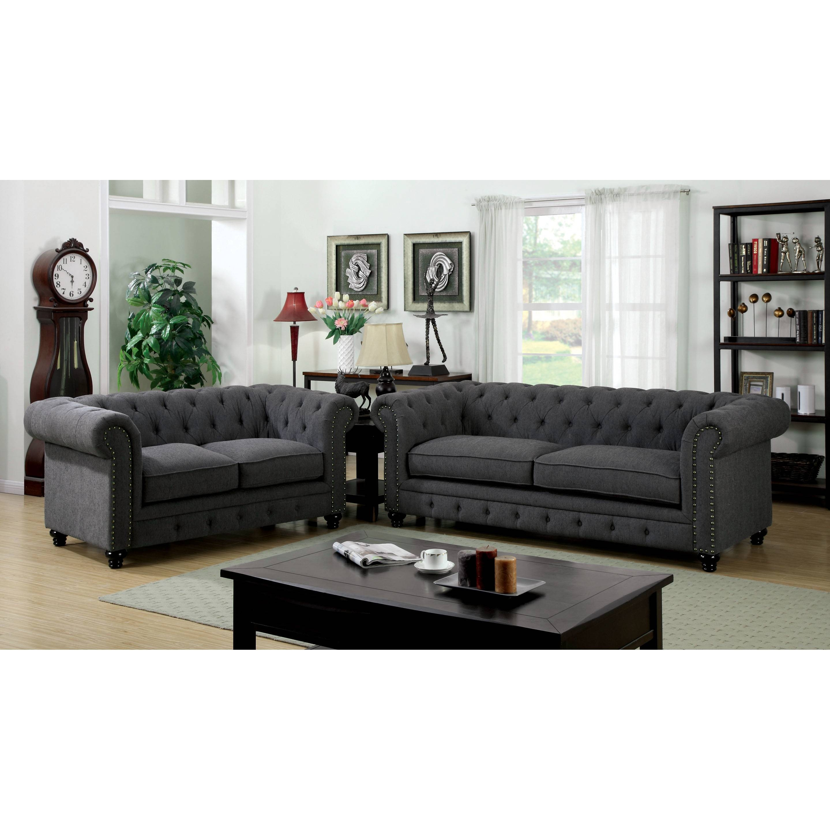 Furniture Entranching Tufted Leather Sofa For Living Room with Affordable Tufted Sofas (Image 5 of 15)