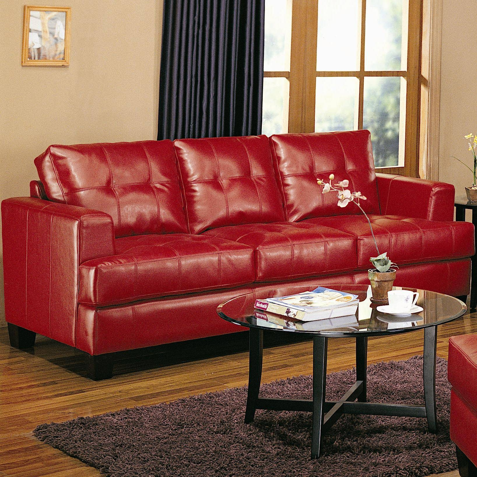 Furniture: Excellent Red Leather Sofaashley Furniture Austin regarding Dark Red Leather Sofas (Image 6 of 15)