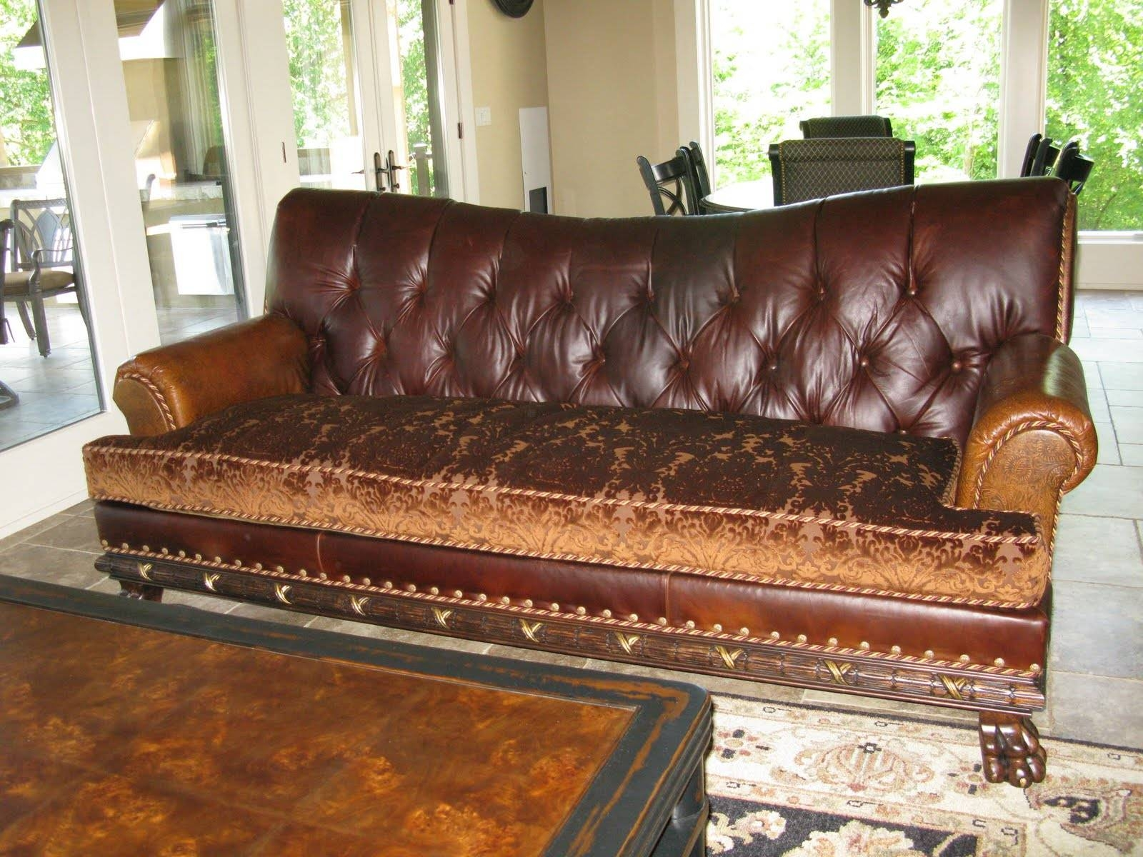 Furniture: Exquisite Comfort With Leather Tufted Sofa inside Brown Leather Tufted Sofas (Image 10 of 15)