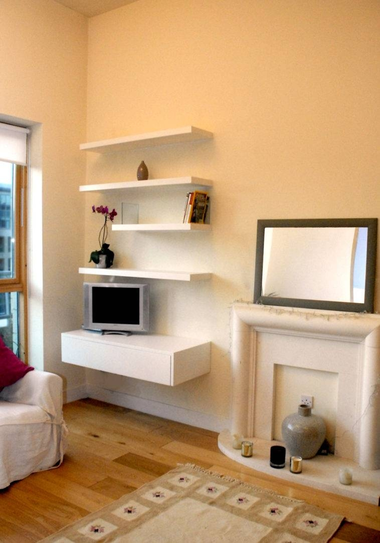 Furniture. Four Rectangle White Wooden Floating Media Shelves With for Single Shelf Tv Stands (Image 6 of 15)