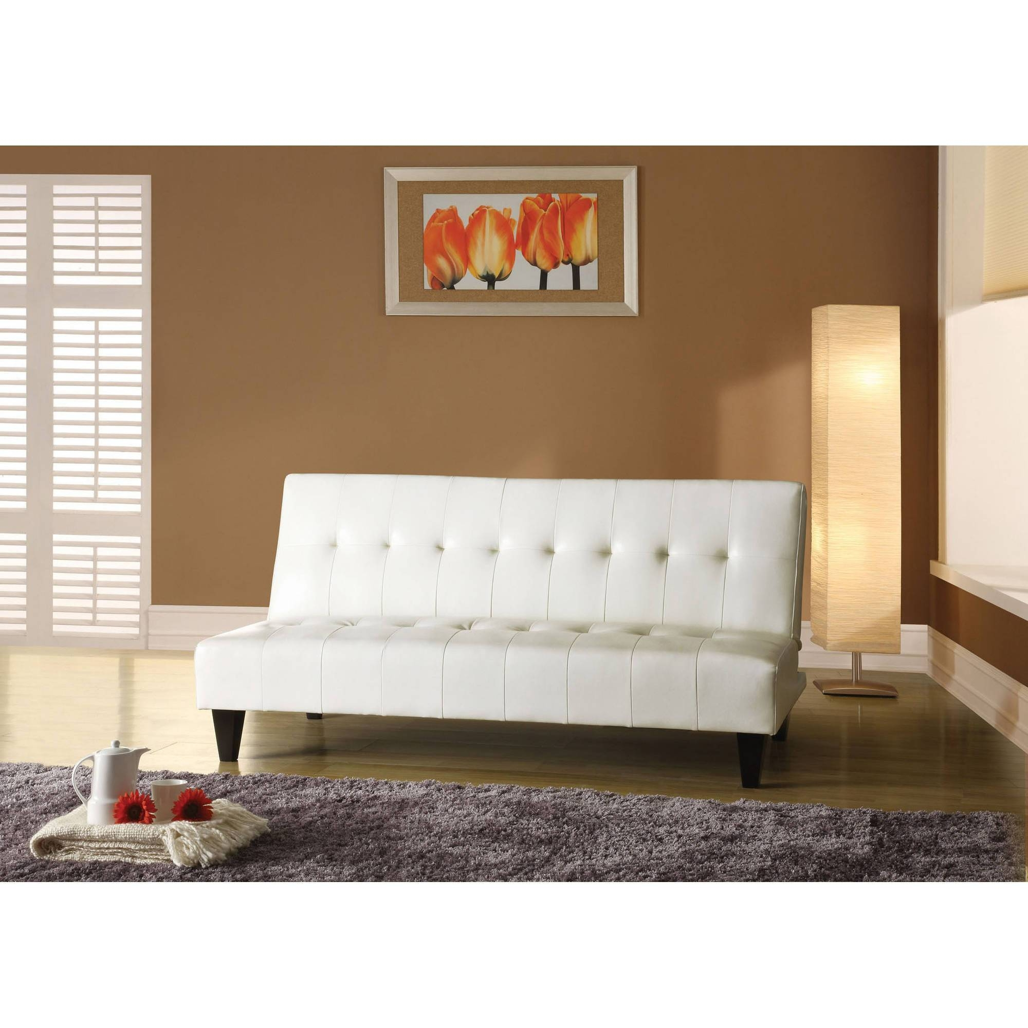 Furniture: Futon Sofa Bed With Storage | Faux Leather Futon intended for Faux Leather Futon Sofas (Image 8 of 15)