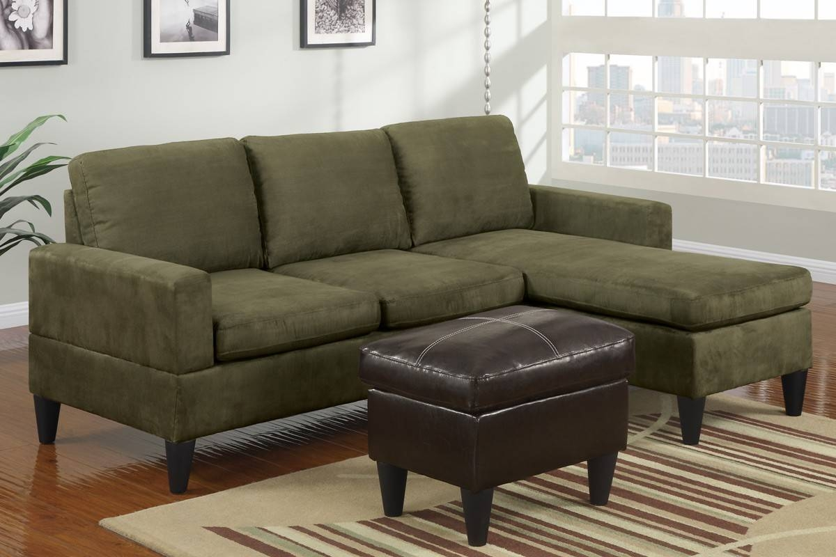 Furniture. Gallant Sage Green Leather Sofa Comfortably Occupied with Green Microfiber Sofas (Image 4 of 15)
