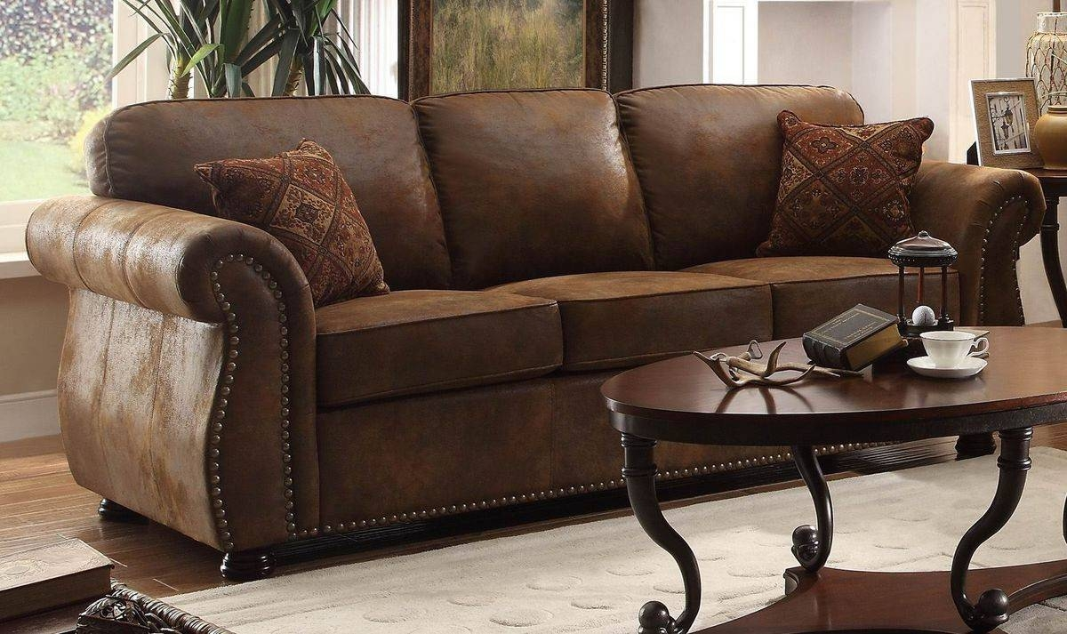 Furniture: Grey Microfiber Couch With Brown Microfiber Couch regarding Bomber Leather Sofas (Image 7 of 15)