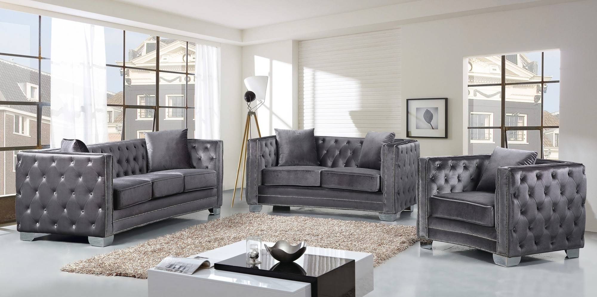 Furniture: Grey Velvet Sofa | Grey Tufted Sofa | Tufted Sleeper Sofa in Silver Tufted Sofas (Image 6 of 15)