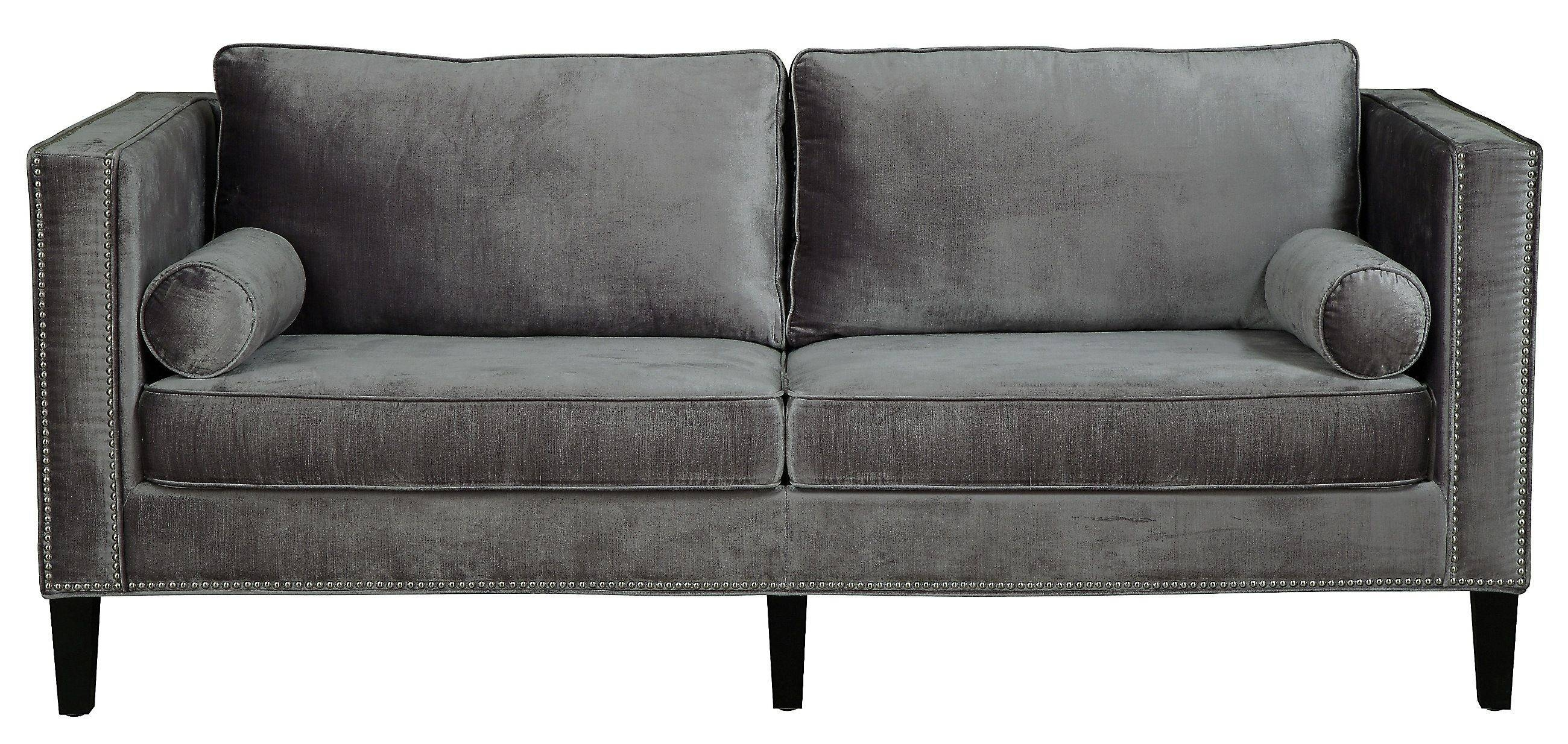Furniture: Grey Velvet Sofa | Grey Tufted Sofa | Tufted Sleeper Sofa with Brown Velvet Sofas (Image 6 of 15)