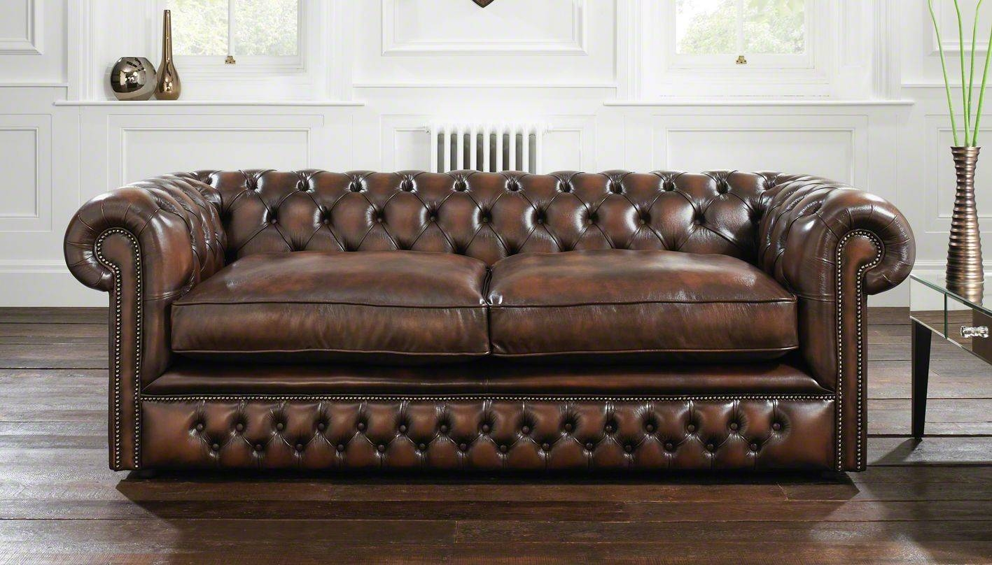 Furniture Home: Brown Tufted Leather Sofa Modern Elegant 2017 regarding Brown Leather Tufted Sofas (Image 9 of 15)