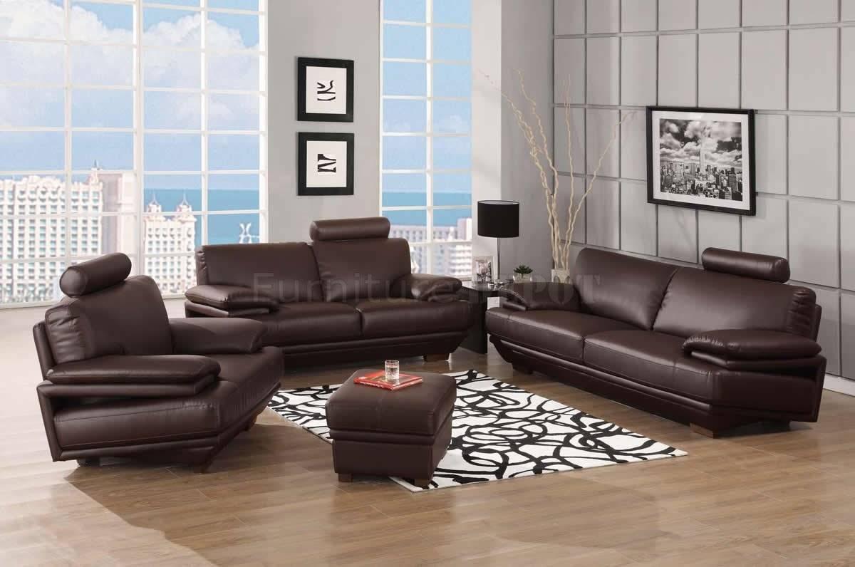 Furniture Home : Modern Black And White Leather Sofa Set 44L3088 intended for Contemporary Brown Leather Sofas (Image 10 of 15)