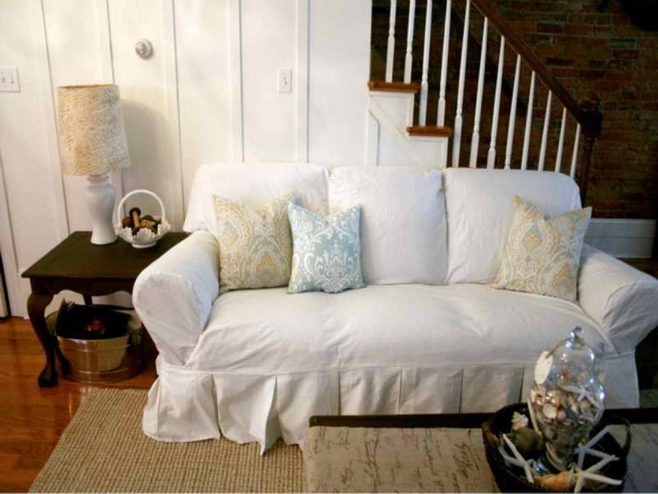 Furniture Home: Shabby Chic Sofa Slipcovers White Sofa Slipcovers regarding Shabby Chic Sofa Slipcovers (Image 5 of 15)