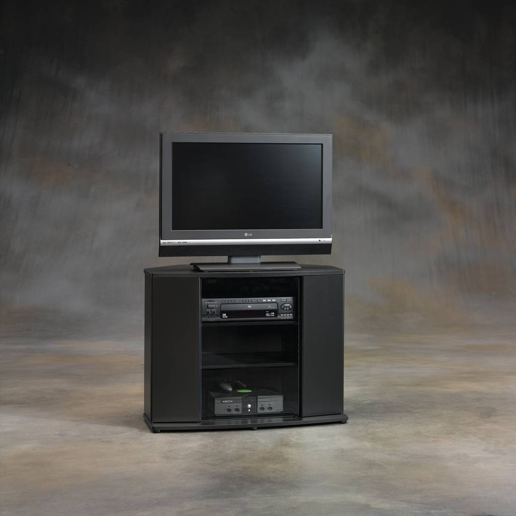 Furniture: Interesting Sauder Tv Stand For Home Furniture Ideas Throughout Black Corner Tv Cabinets (View 8 of 15)