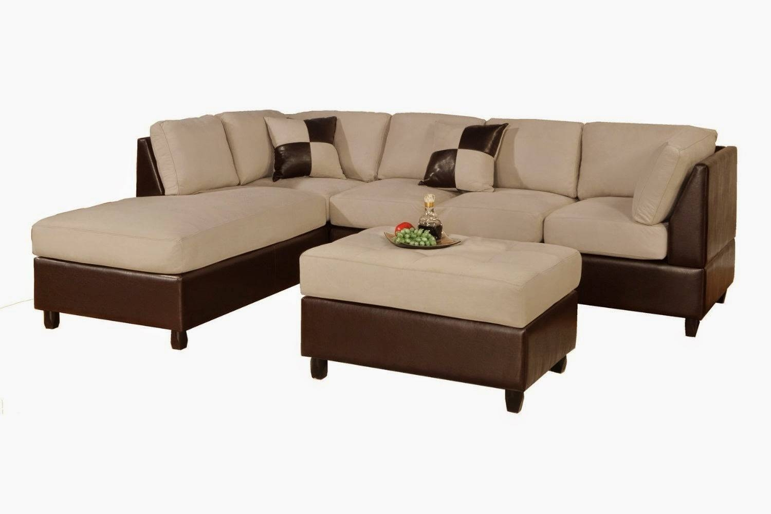 Furniture. L Shaped Sofa Bed With Brown Cushion And Round Table On in Small L-Shaped Sofas (Image 5 of 15)