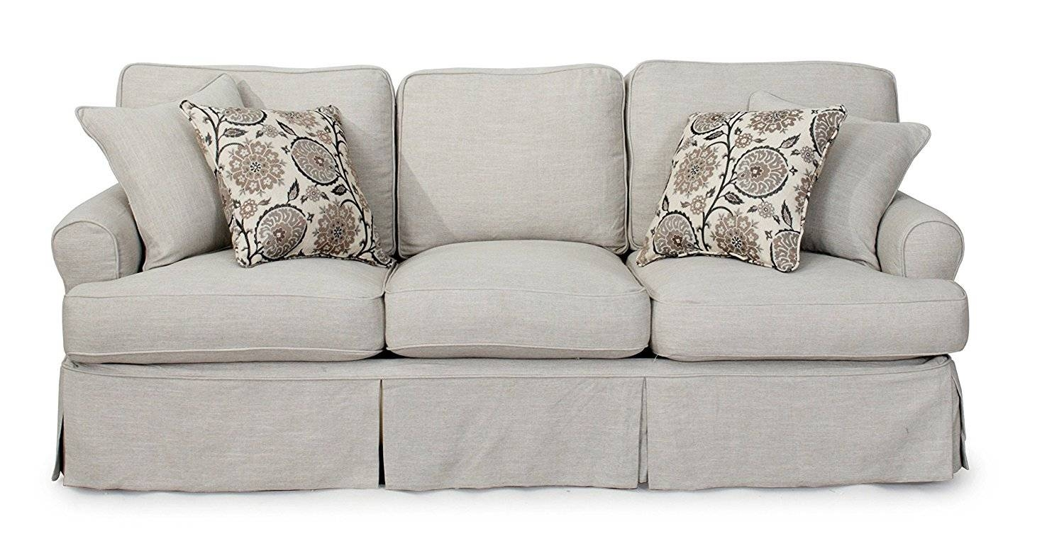 Furniture: Loveseat Slipcover No Arms | Loveseat Slipcovers Denim for Loveseat Slipcovers T-Cushion (Image 3 of 15)