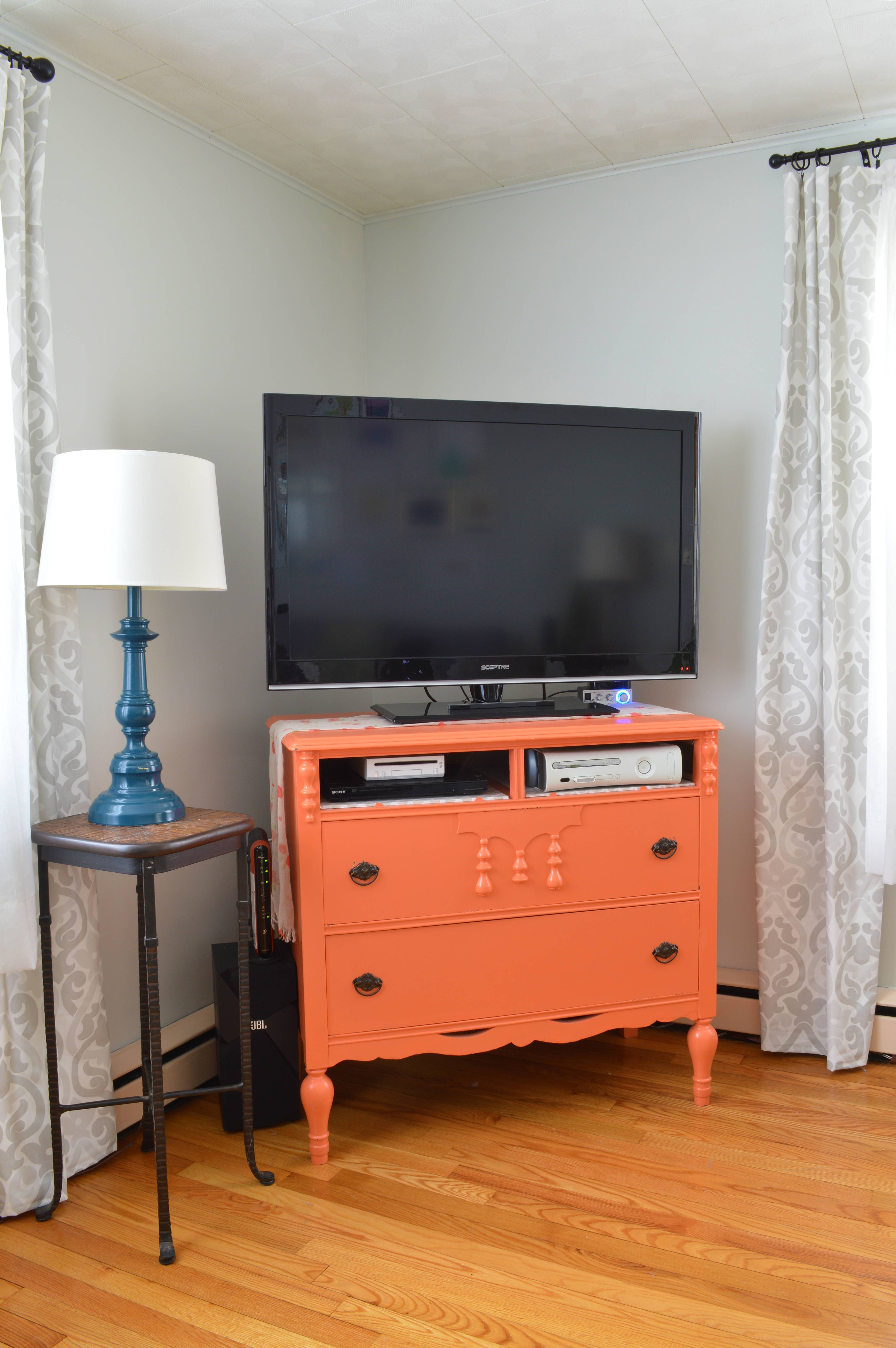 Furniture Makeover: From Dresser To Tv Stand – Plaster & Disaster within Orange Tv Stands (Image 4 of 15)