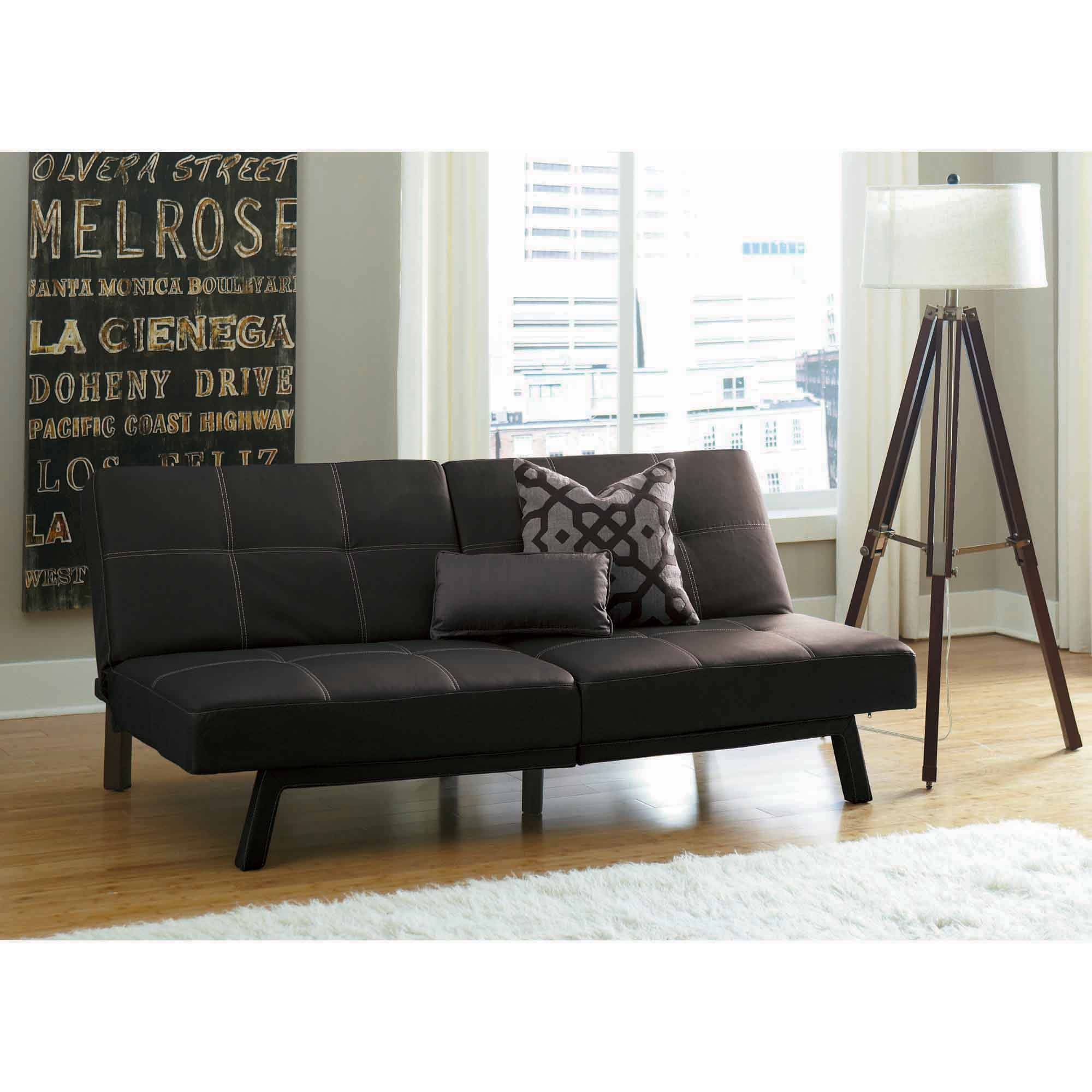 Furniture: Maximize Your Small Space With Cool Futon Bed Walmart throughout Leather Fouton Sofas (Image 8 of 15)