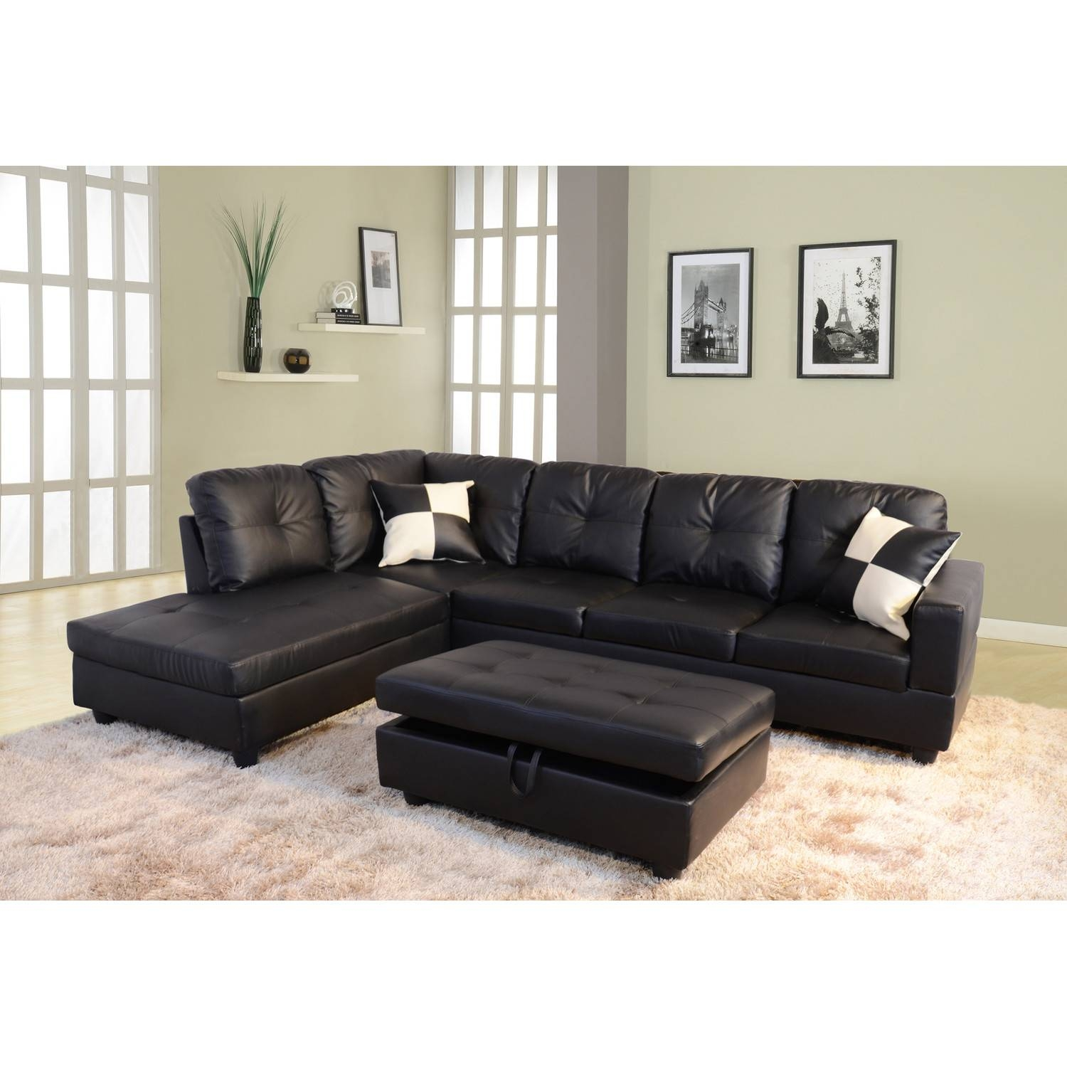 Furniture: Modern And Contemporary Sofa Sectionals For Living Room With Black Leather Chaise Sofas (View 15 of 15)