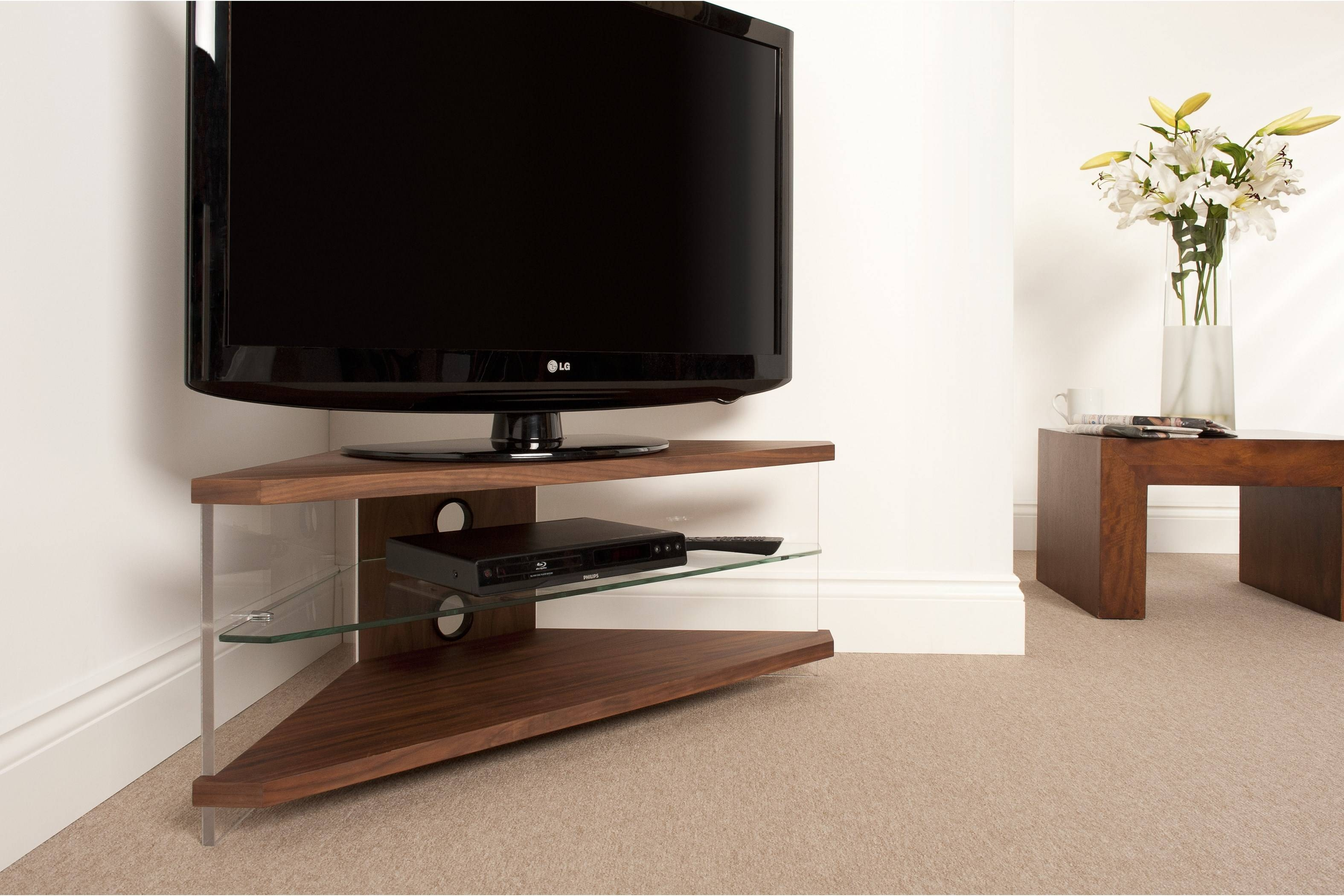 Furniture. Modern Corner Tv Stand In Sophisticated Designs Ideas inside Triangular Tv Stand (Image 7 of 15)