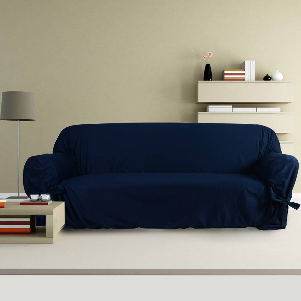 Furniture: Navy Blue Couch Slipcovers Target For Cool Home Inside Navy Blue Slipcovers (Photo 5 of 15)