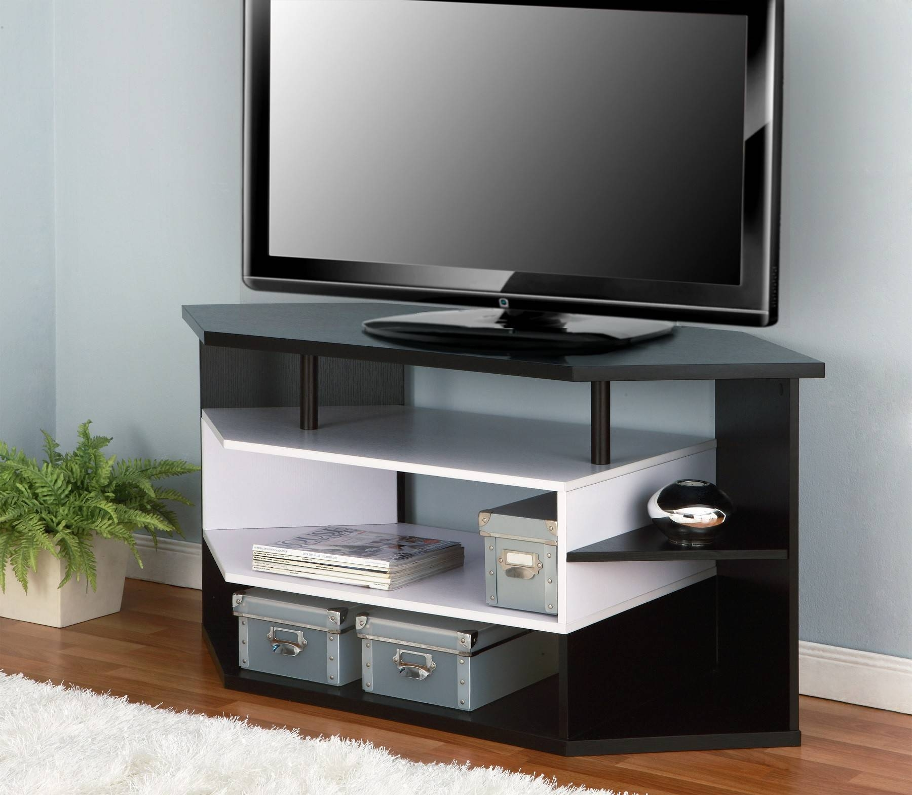 Furniture Of America Rixton Black And White 47-Inch Contemporary regarding Contemporary Corner Tv Stands (Image 6 of 15)