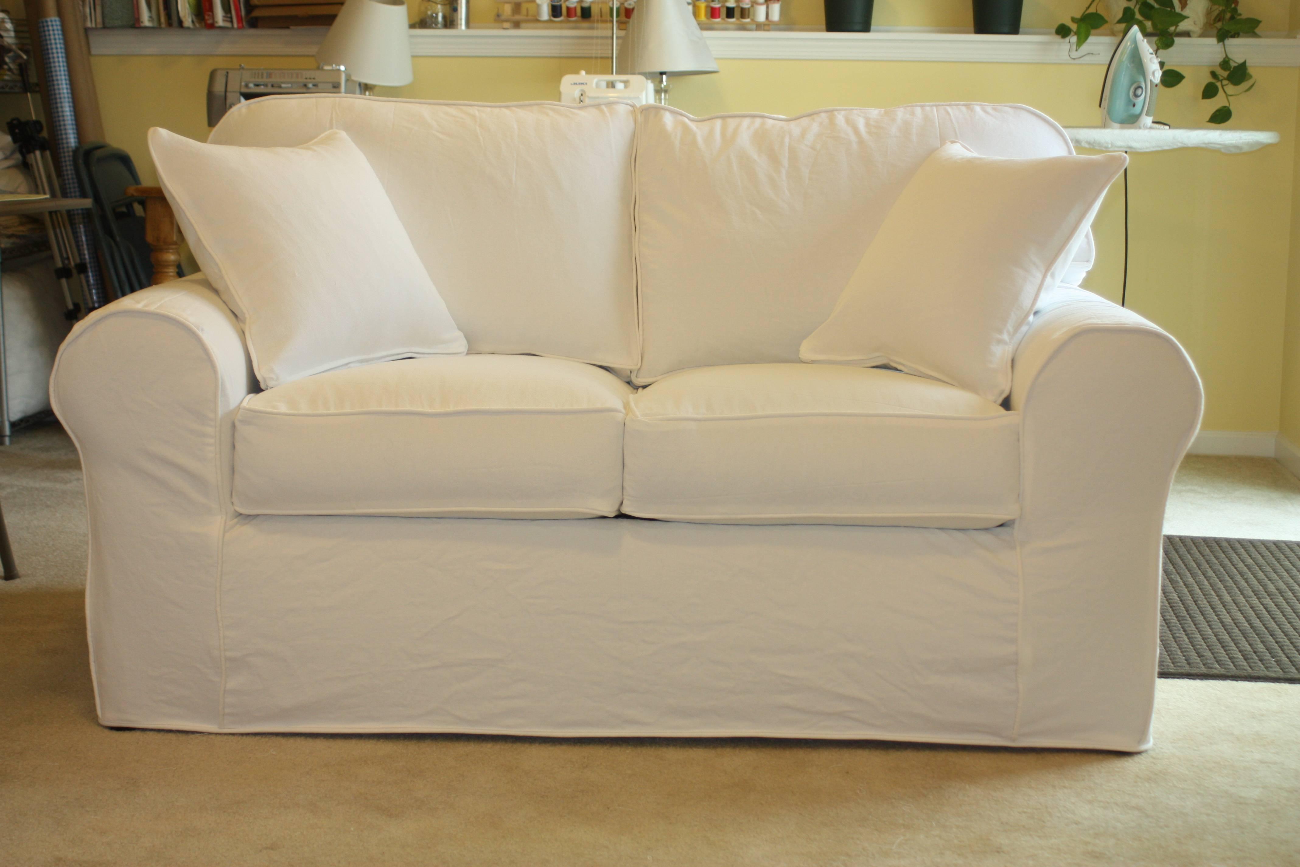 Furniture: Slipcover Loveseat Amazon | Slipcovered Loveseat within Denim Sofas And Loveseats (Image 9 of 15)