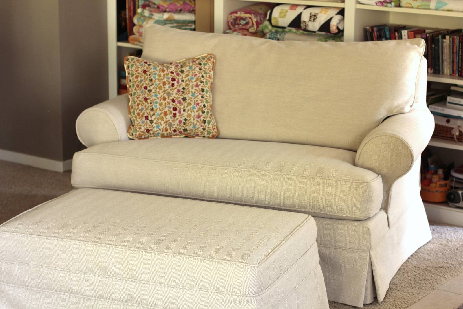 Furniture: Slipcover Loveseat T Cushion | Slipcovered Loveseat with Slip Covers For Love Seats (Image 7 of 15)