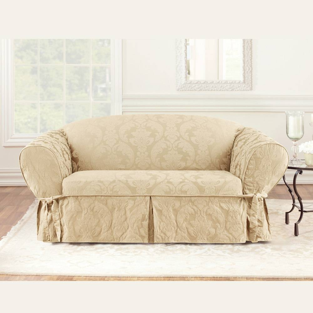 Furniture: Slipcovered Loveseat | Loveseat Slipcover Navy Blue with regard to Loveseat Slipcovers T-Cushion (Image 7 of 15)