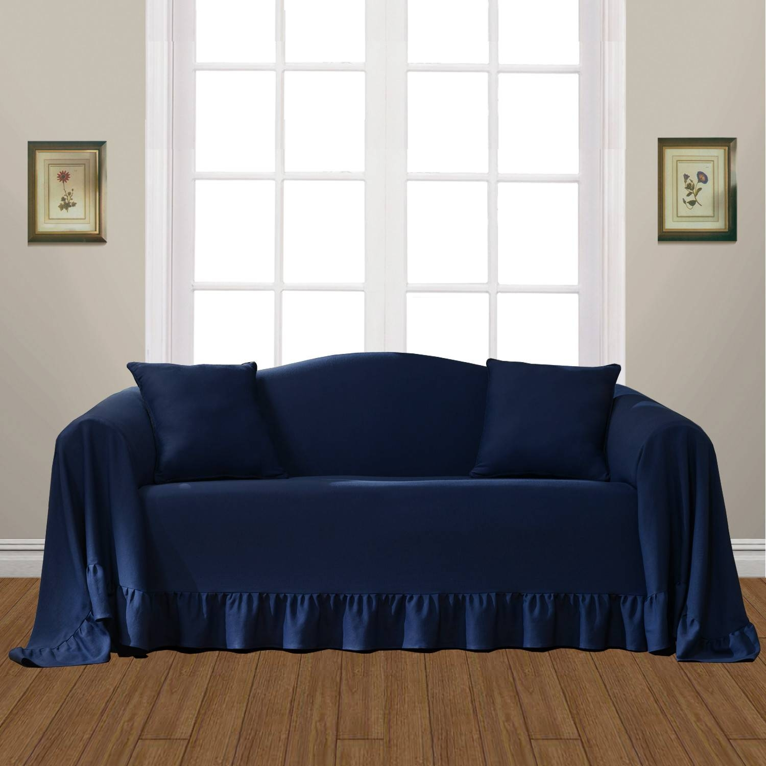 Furniture: Slipcovers Chairs | Sofa Armrest Covers | Recliner Intended For Navy Blue Slipcovers (Photo 6 of 15)