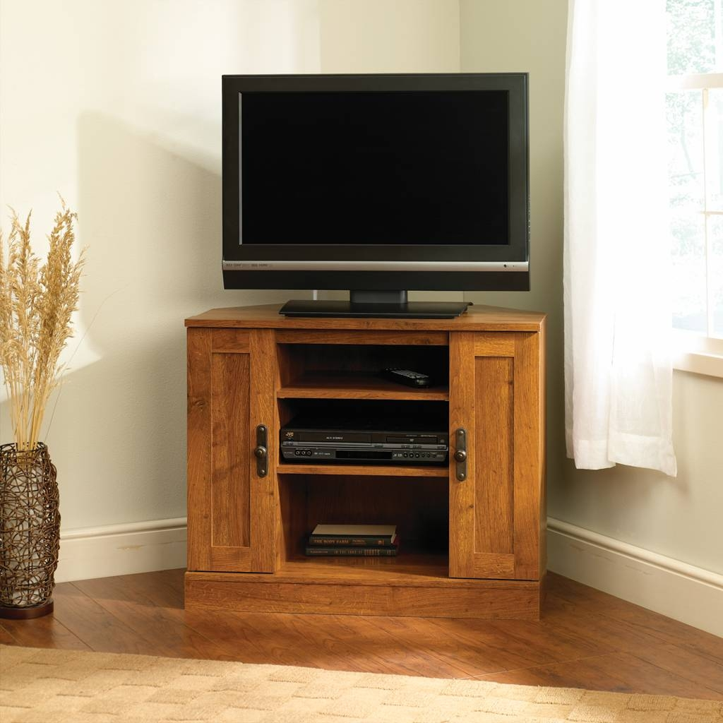 Furniture: Small Corner Sauder Tv Stand Made Of Wood With Double for Corner Tv Cabinets For Flat Screens With Doors (Image 9 of 15)