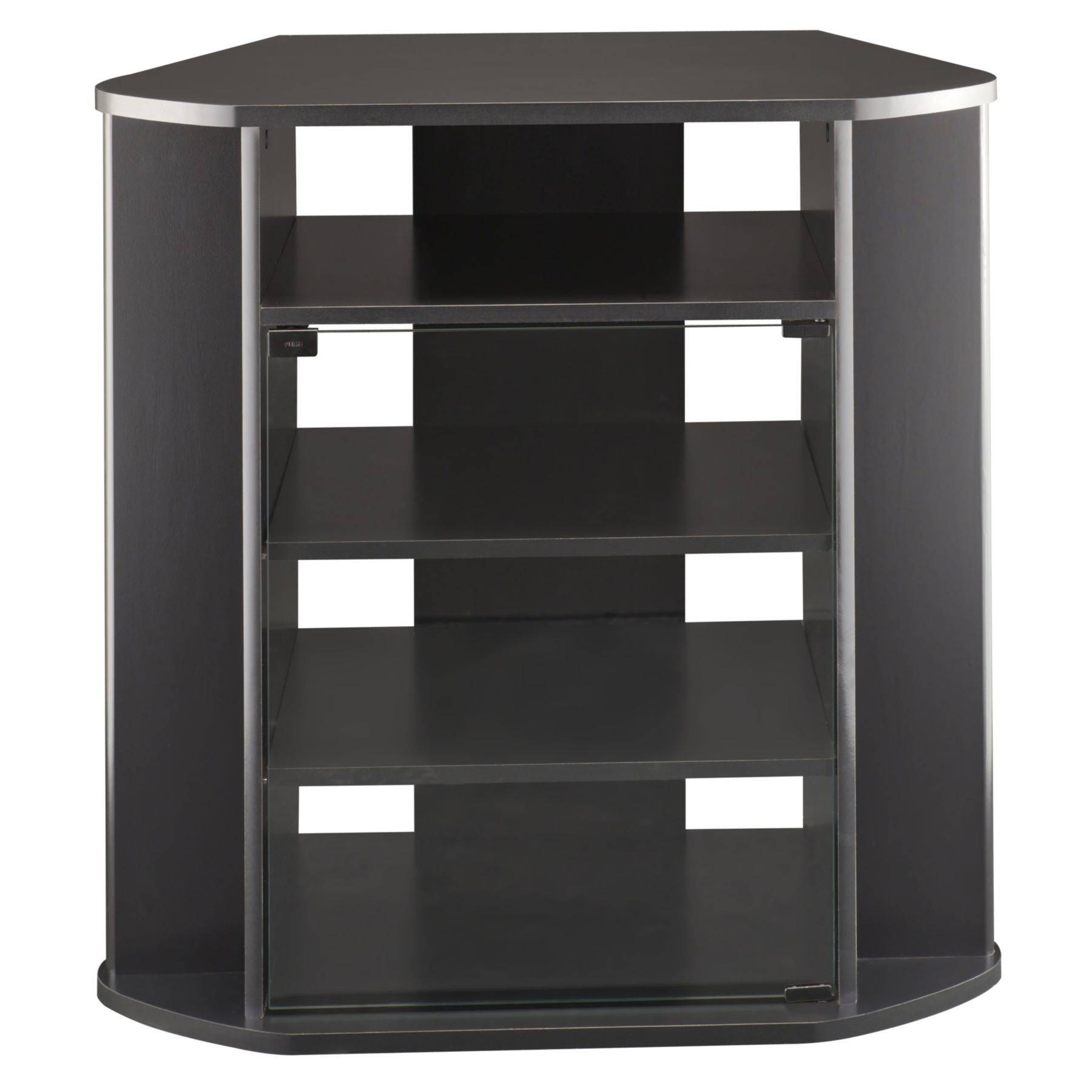 Furniture. Tall Black Corner Tv Stand With Four Tiwr Shelf And for Corner Tv Unit With Glass Doors (Image 6 of 15)