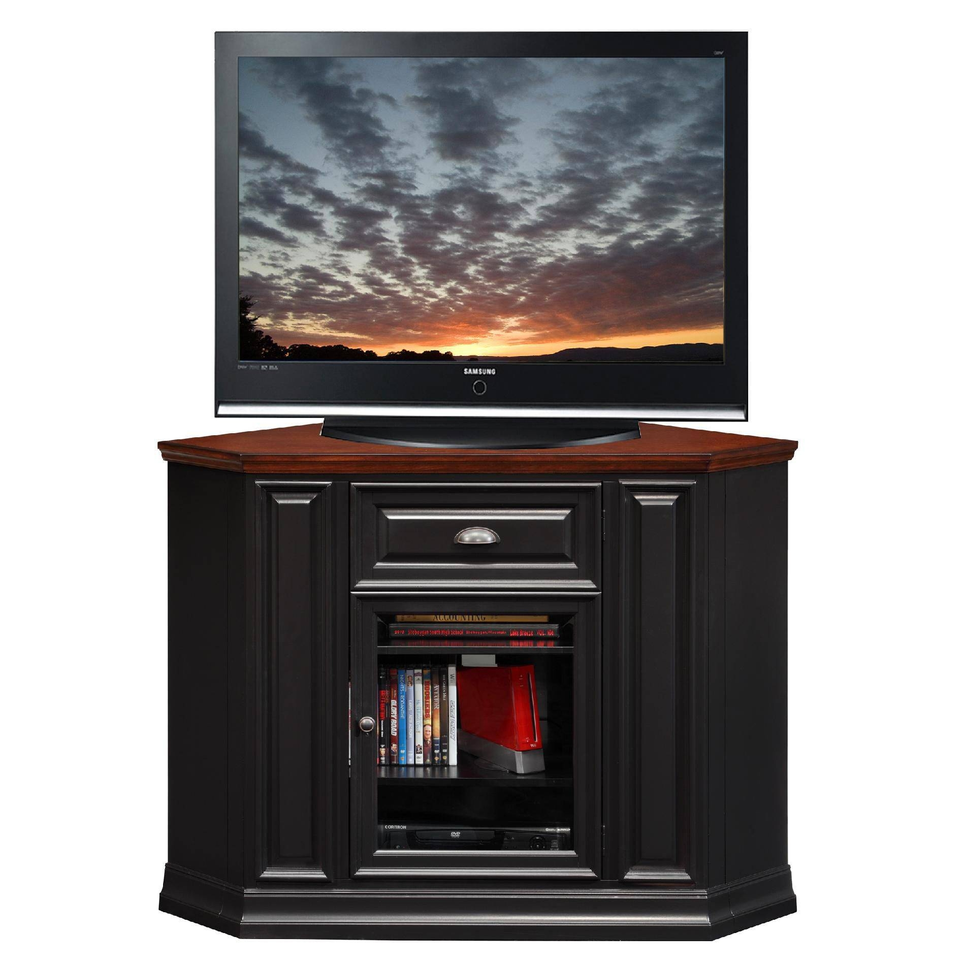 Furniture. Tall Black Wooden Corner Tv Cabinet With Glass Door For in Tall Black Tv Cabinets (Image 7 of 15)