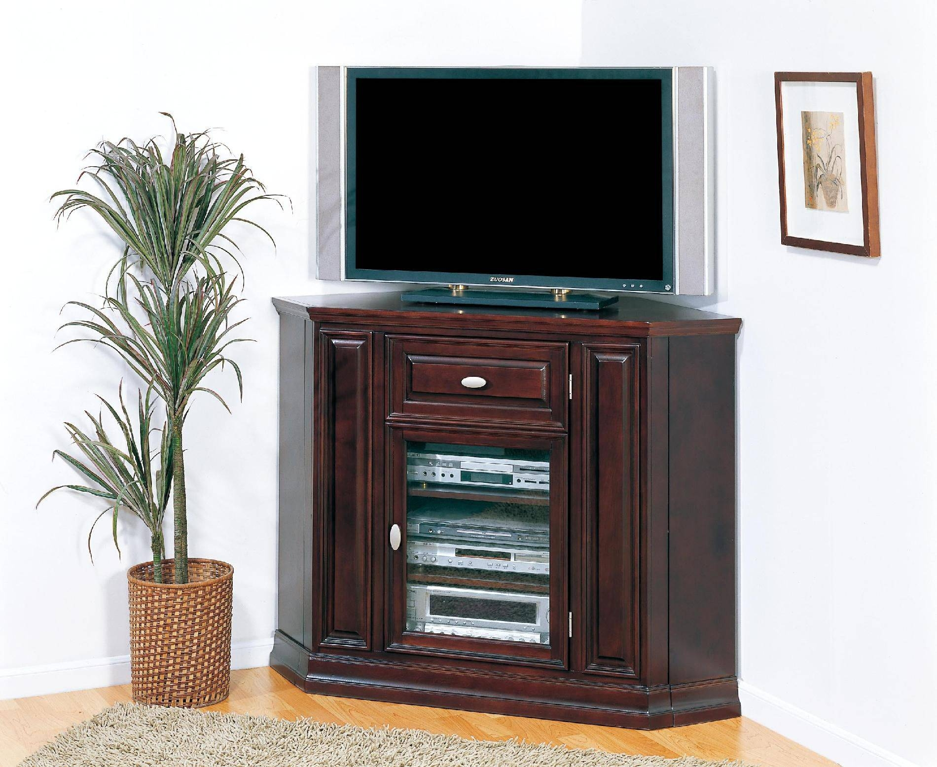 Furniture. Tall Dark Brown Wood Corner Tv Cabinet For Flat Screen pertaining to Corner Tv Cabinets With Glass Doors (Image 7 of 15)