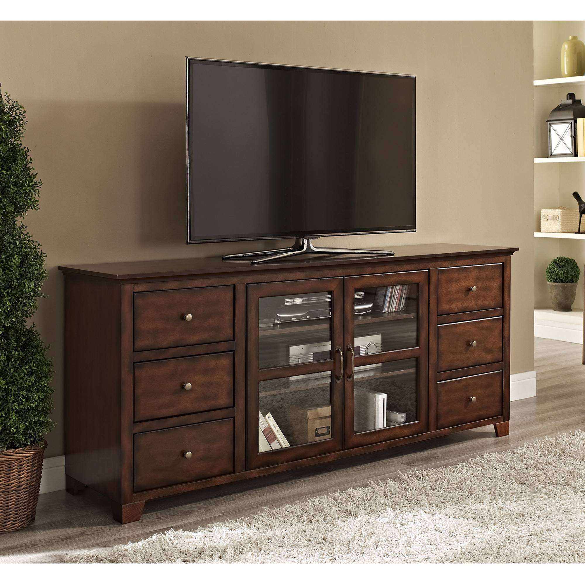Furniture. The Modern Tv Stands For Flat Screens For More Secure inside Wide Screen Tv Stands (Image 9 of 15)