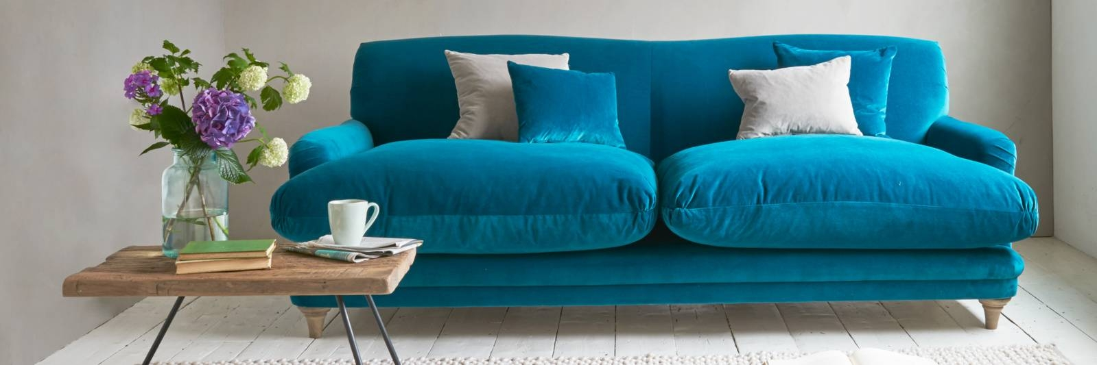 Furniture: Trendy Blue Velvet Couch Design To Inspired Your throughout Sky Blue Sofas (Image 8 of 15)