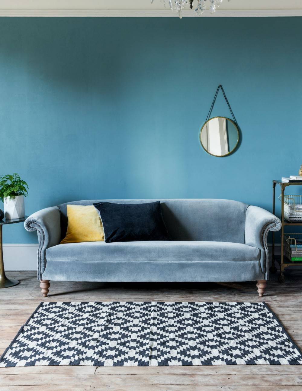 Furniture: Trendy Blue Velvet Couch Design To Inspired Your with Blue Grey Sofas (Image 8 of 15)