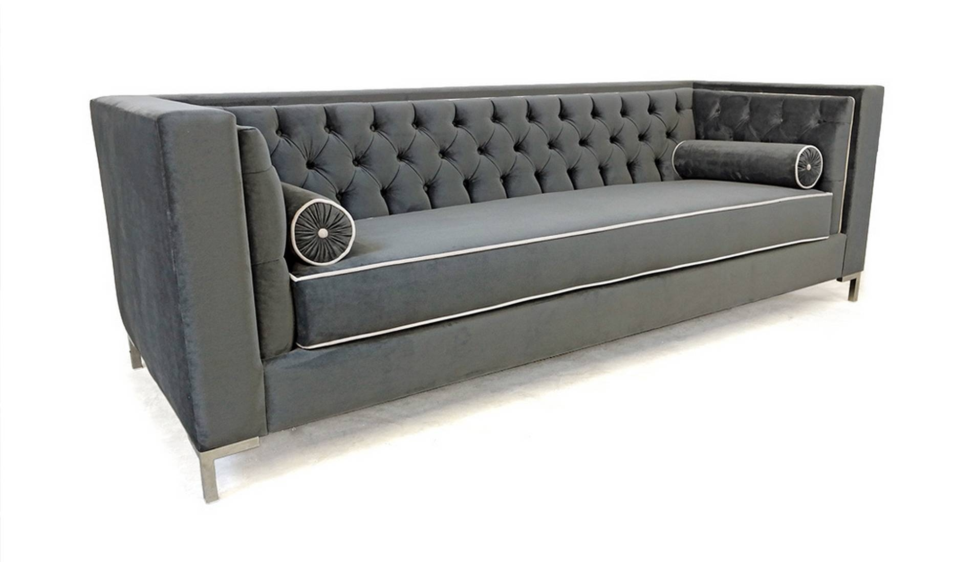Furniture: Velour Couch Velvet Tufted Sofa inside Affordable Tufted Sofas (Image 6 of 15)