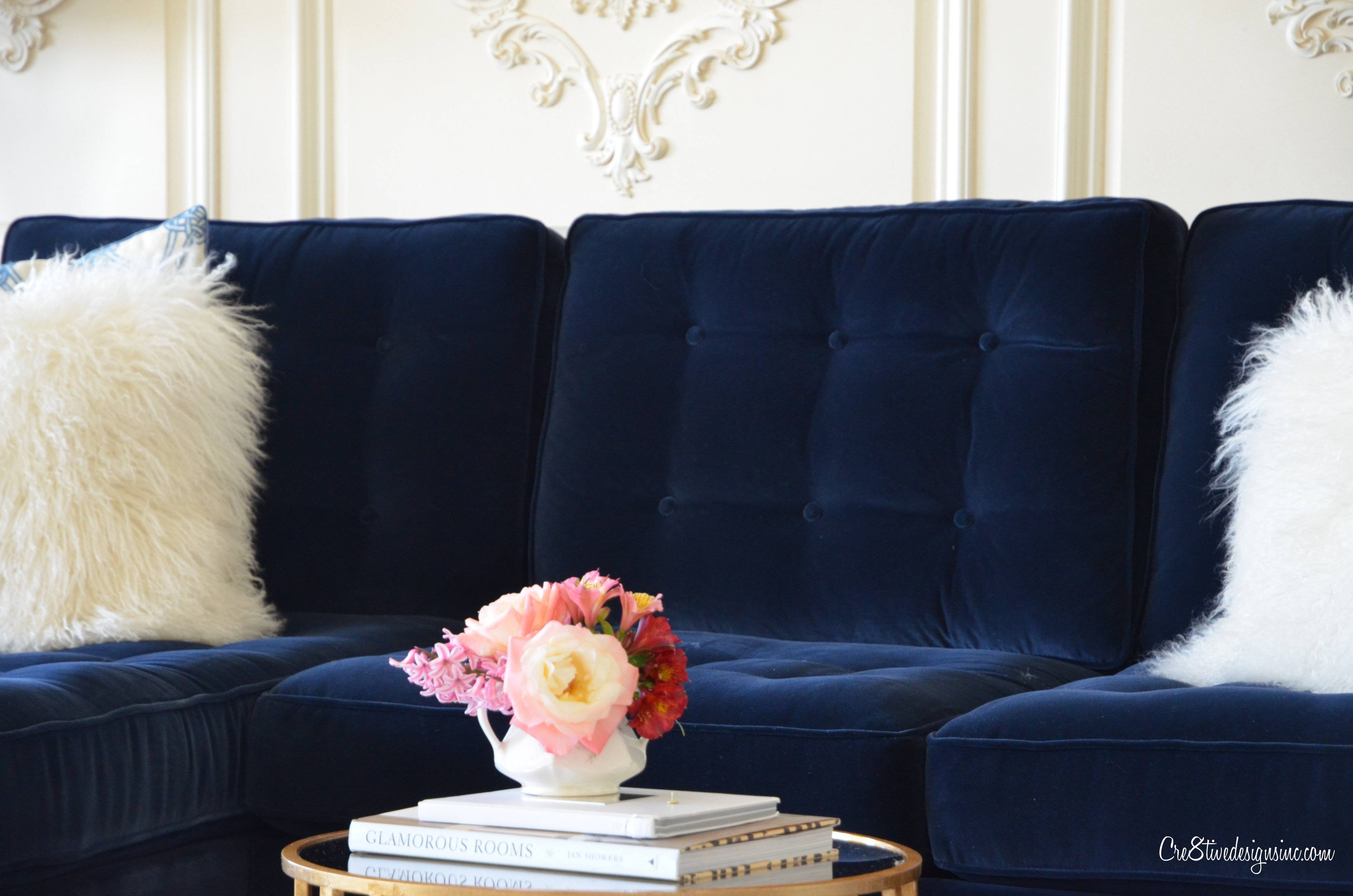 Furniture: Velour Couches Velvet Tufted Sofa in Blue Velvet Tufted Sofas (Image 10 of 15)